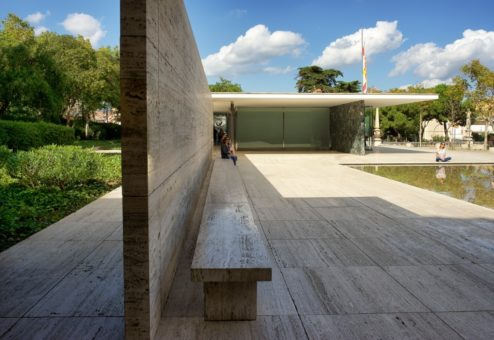 Stone Wall Mies Van Der Rohe Pavilion Barcelona