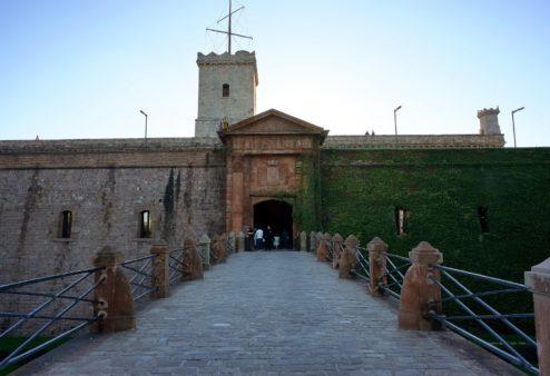 Bridge at Entrance Montjuic Castle Barcelona Spain
