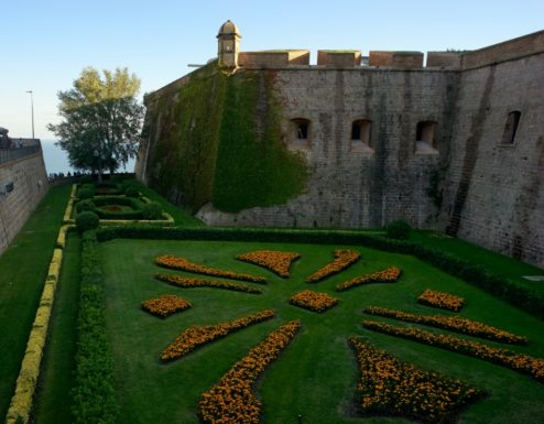 Manicured Moat Montjuic Castle Barcelona Spain