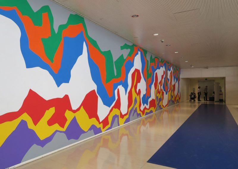 Mural by Sol LeWitt Caixa Forum Barcelona Spain