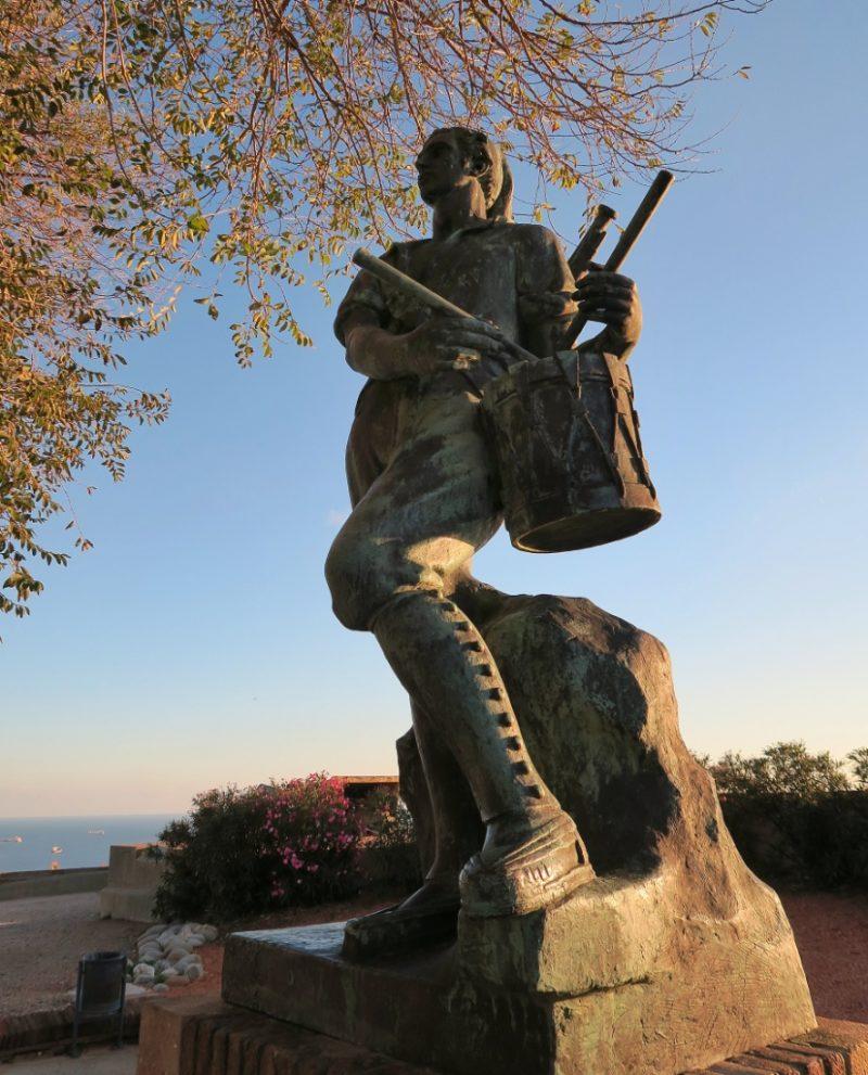 Statue of Drummer of El Bruc Montjuic Castle Barcelona Spain