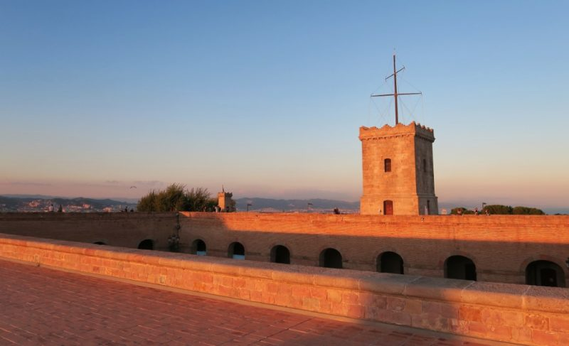 Tower at Sunset Montjuic Castle Barcelona Spain