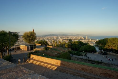 View of City from Montjuic Castle Barcelona Spain