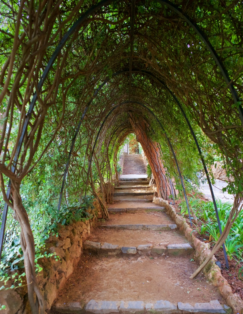 Arched Trellis and Pathway Gaudi House Museum Barcelona Spain
