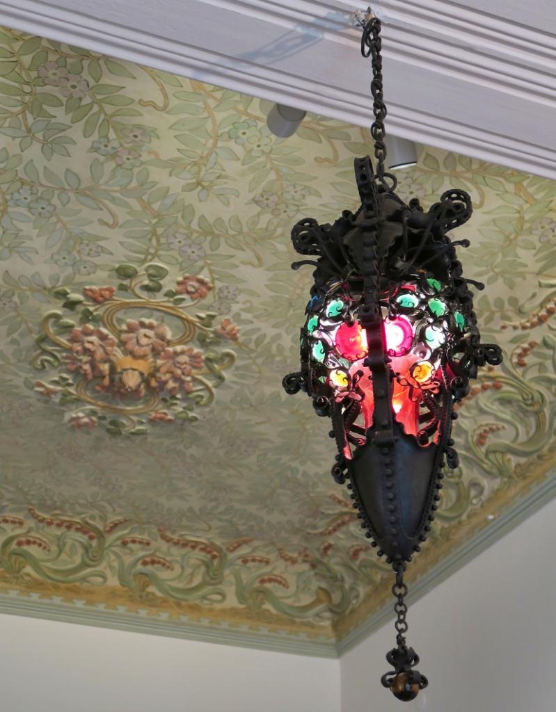 Ceiling Medallion and Iron Light Fixture Gaudi House Museum Barcelona Spain