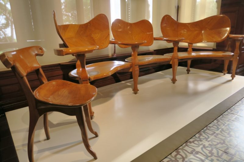 Curved Chairs Gaudi House Museum Barcelona Spain