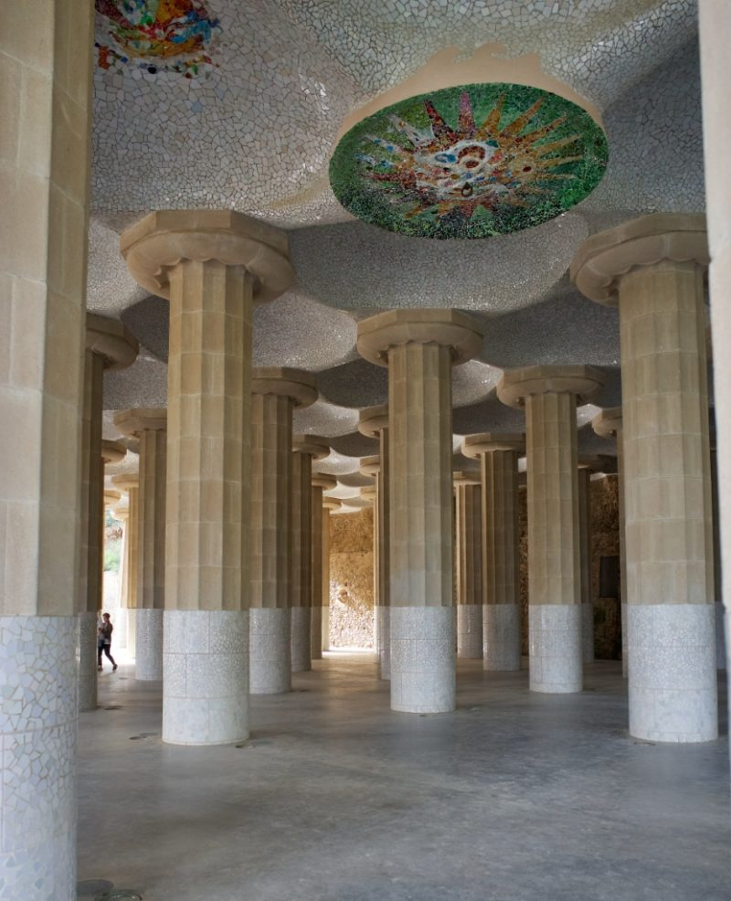 Hypostyle Room Park Guell Barcelona Spain