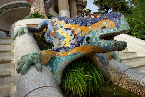 Mosaic Dragon Park Guell Barcelona Spain