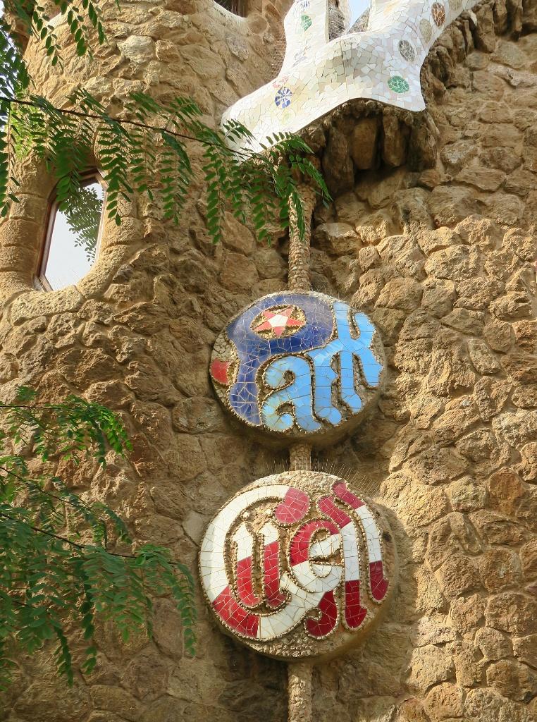 Park Guell Mosaic Medallions Park Guell Barcelona Spain