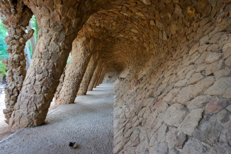 Portico of the Washerwoman Park Guell Barcelona Spain