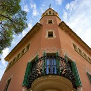Tower and Balcony Railing Gaudi House Museum Barcelona Spain