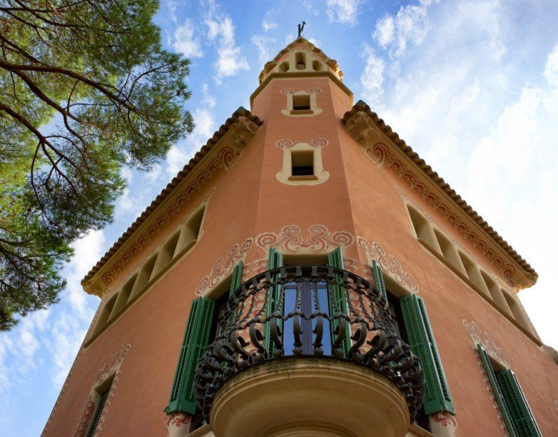 Tower and Balcony Railing Gaudi House Museum Barcelona Spain