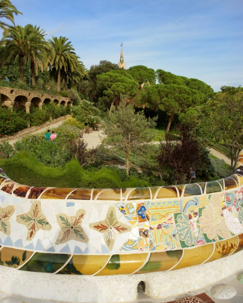 View of Mosaic Bench Park Guell Barcelona Spain