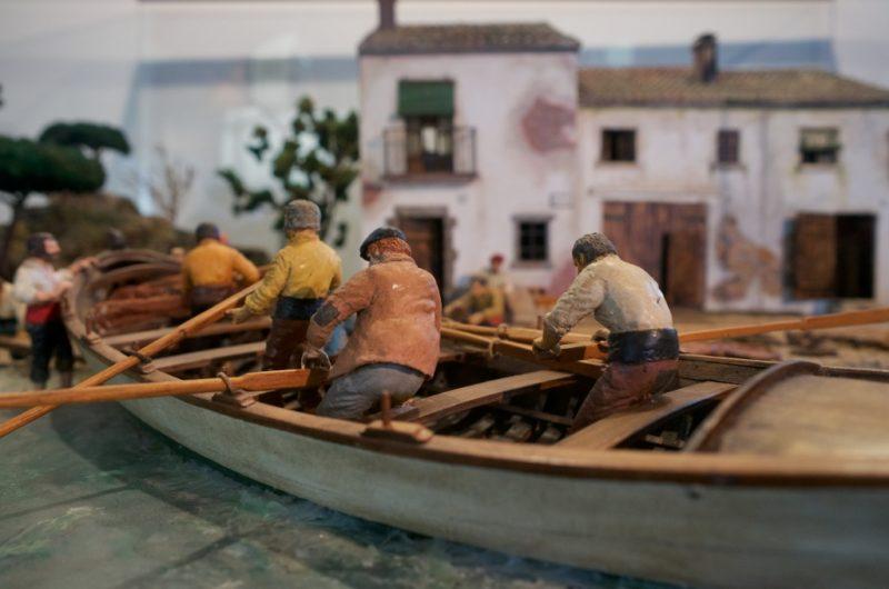 Diorama of Fishermen Barcelona Maritime Museum