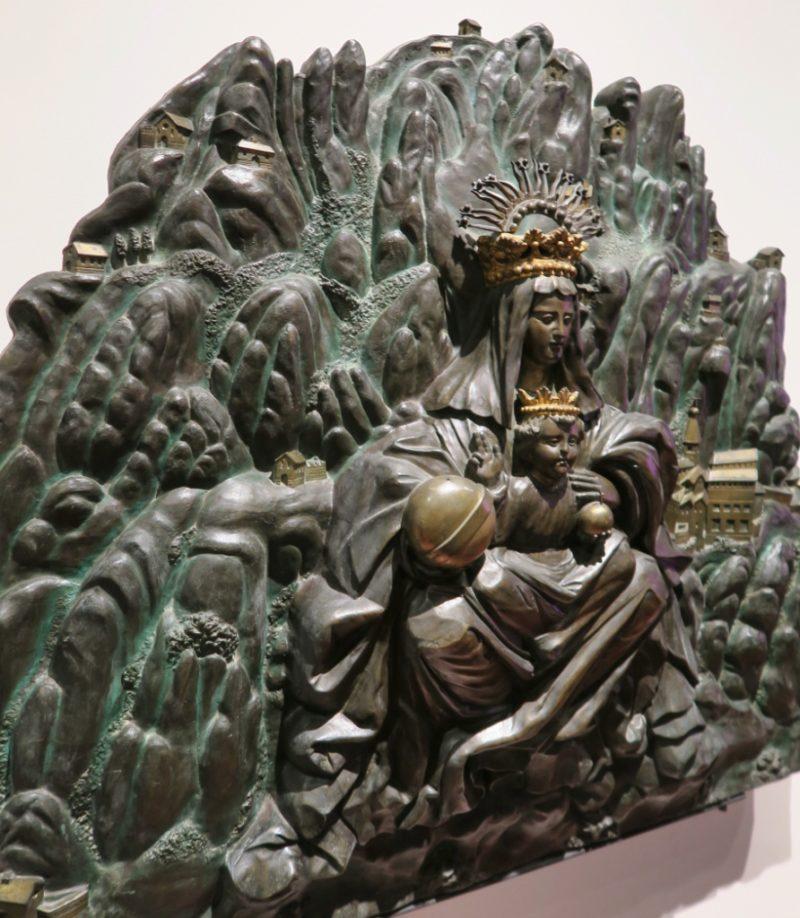 Relief of Virgin of Montserrat Gaudi Exhibition Center Barcelona Spain