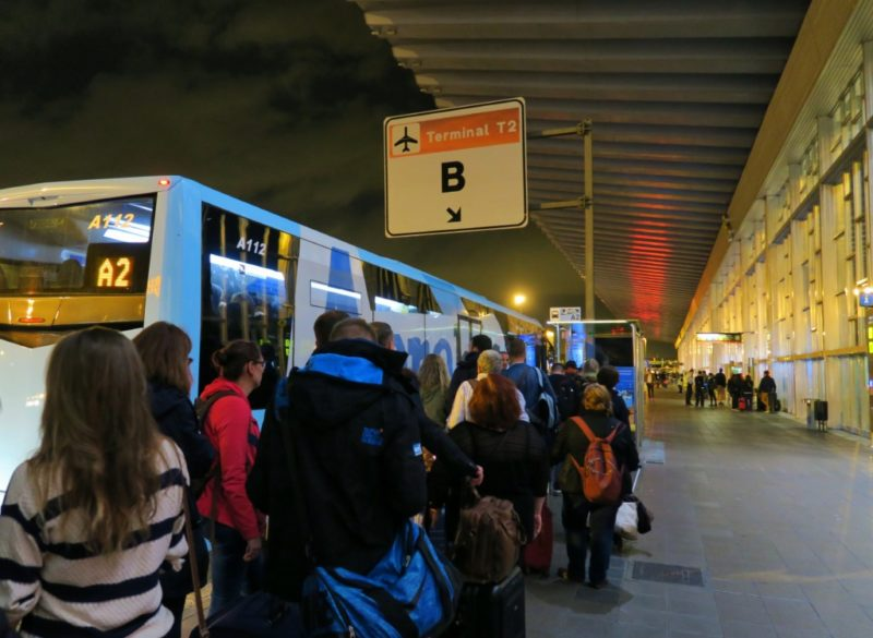 Line at Bus Stop A2 Barcelona El Prat Airport