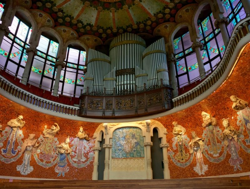 Organ and Reliefs on Main Stage Palau de la Musica Barcelona