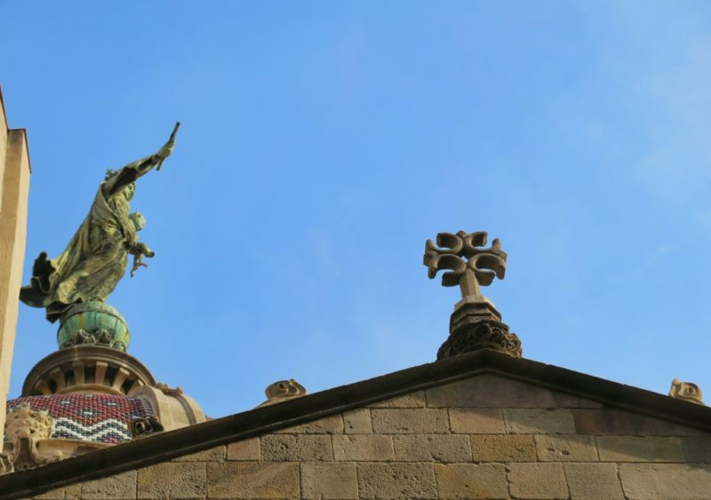 Rooftop Statue Basilica of Our Lady of Mercy Barcelona