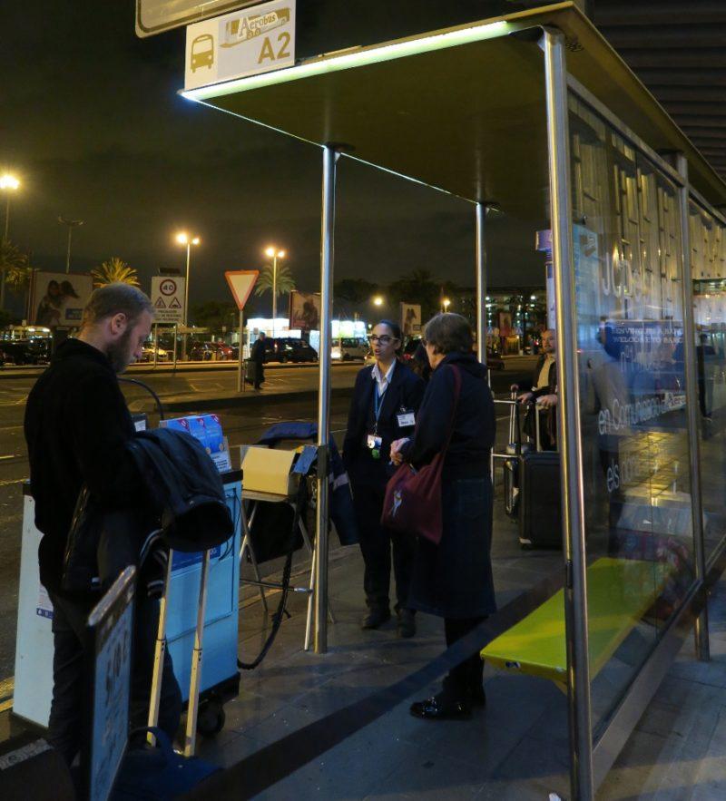 A2 Bus stop at Barcelona El Prat Airport