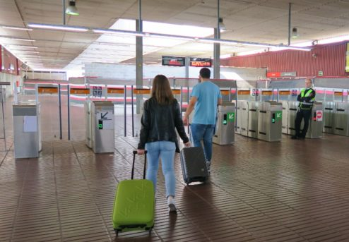 Train Station Turnstile at Barcelona El Prat Airport