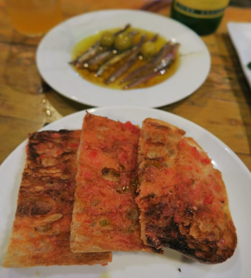 Toast and Anchovies Txots Sidreria Figueres Spain