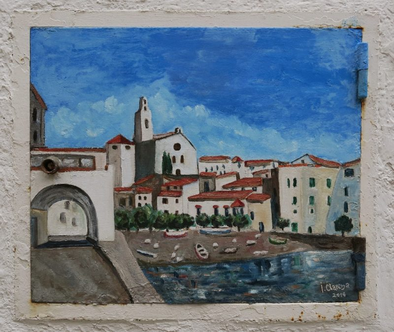Access Panel Painting of Port d'Alguer Cadaques Spain