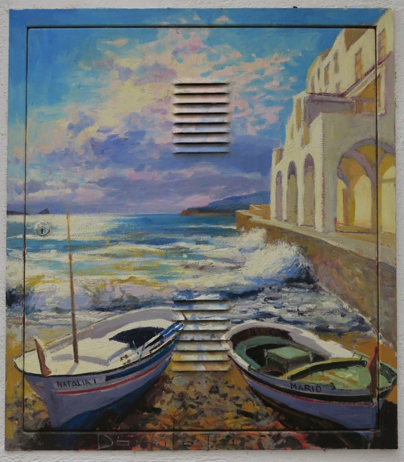 Access Panel Painting of Two Boats on the Beach Cadaques Spain