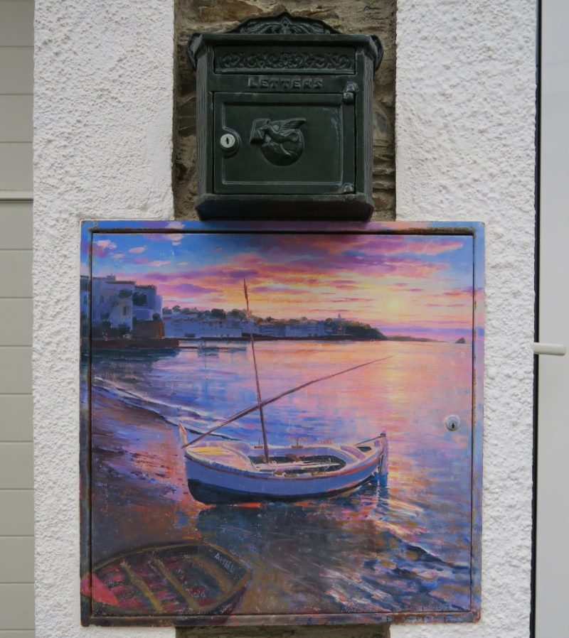 Access Panel Painting of a Boat at Sunset Cadaques Spain