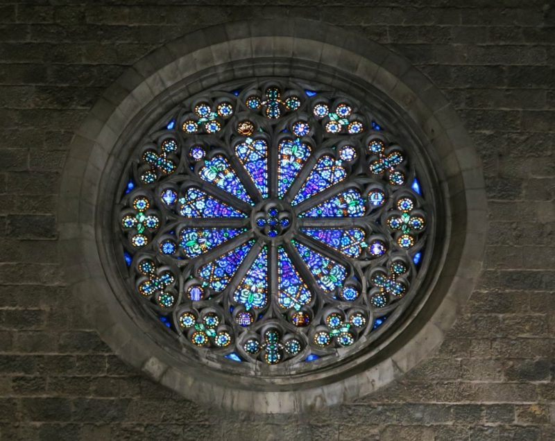 Blue Rose Window Church of Saint Peter Figueres Spain