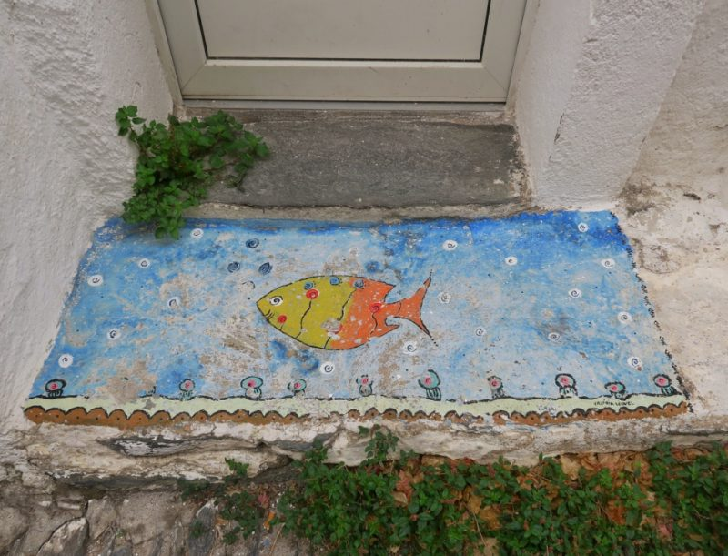 Painted Doormat with Fish Cadaques Spain