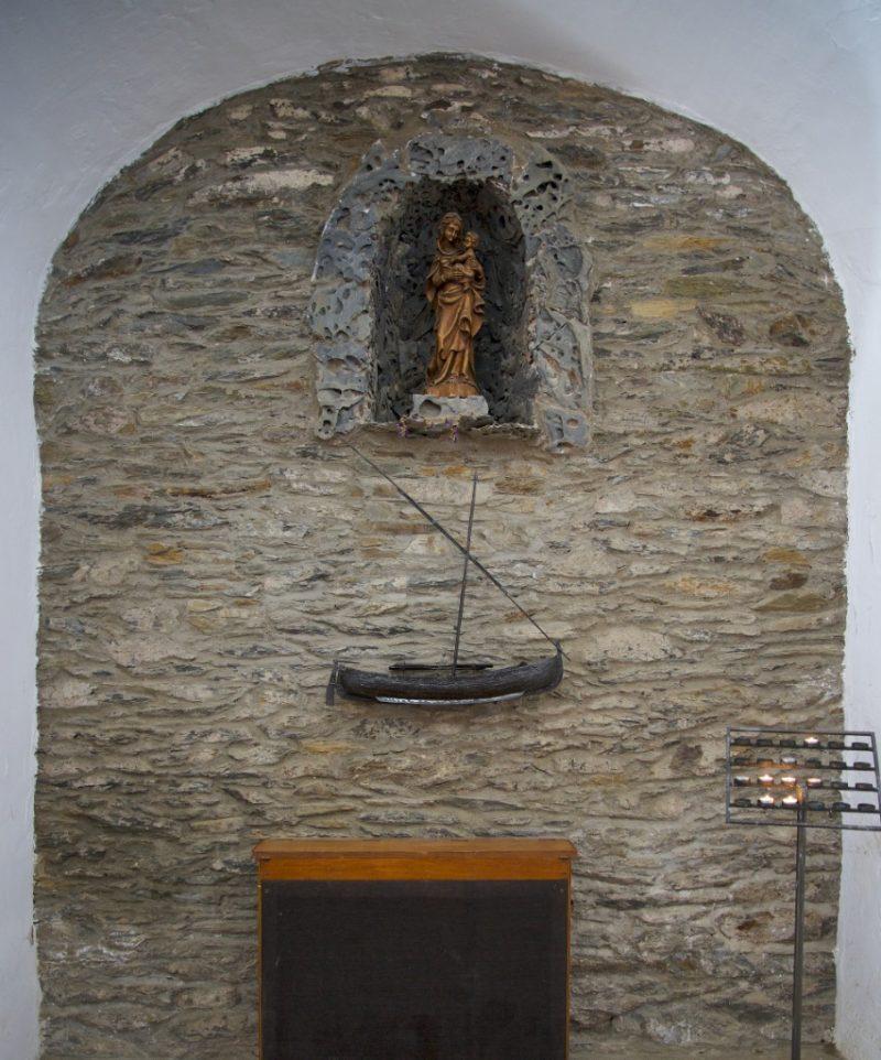 Statue of Mary with Boat Ermita de Sant Baldiri Cadaques Spain