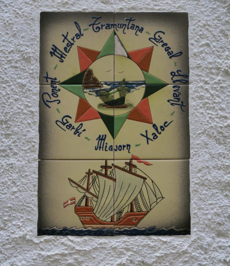 Tiles Mural of Compass Rose with Boat Cadaques Spain