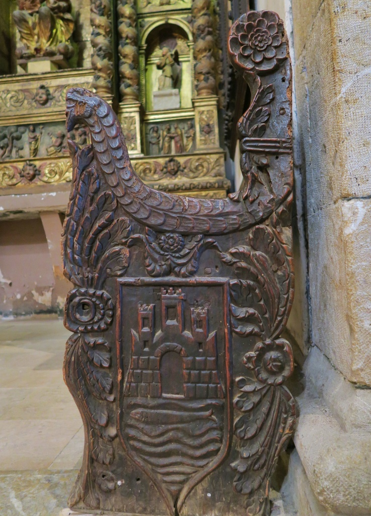 Carved Wooden Pew City Coat of Arms Church of Santa Maria Cadaques Spain