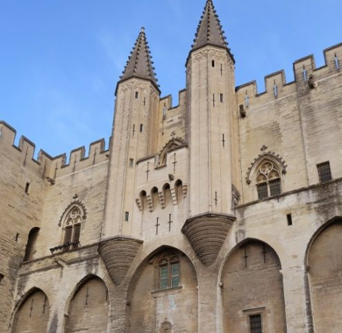 Facade with Turrets Palace of the Popes Avignon France