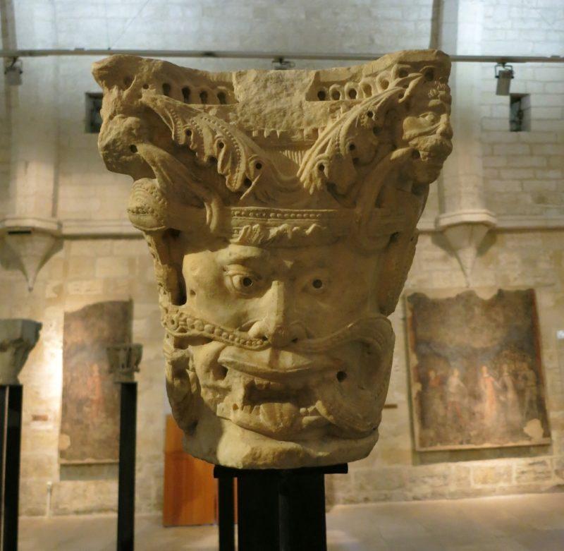 Stone Capital with Mask Musee du Petit Palais Avignon France