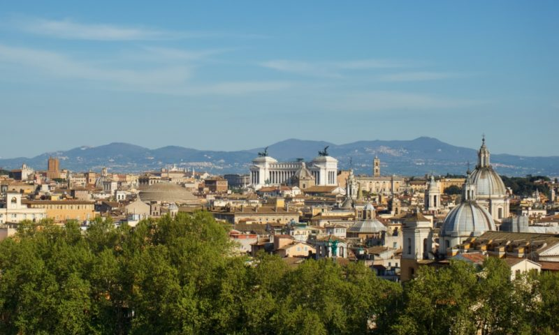 Aerial View of Rome from Castel Sant Angelo Italy