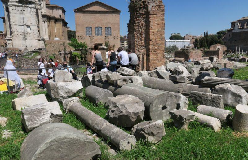 Column Fragments Roman Forum Italy