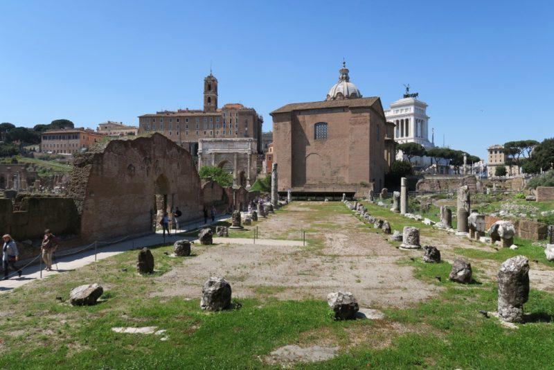 Ruins of Bailica Aemilia Roman Forum Italy