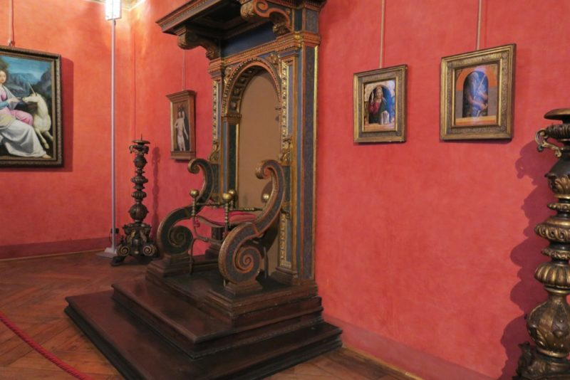 Throne in the Perseus Room Castel Sant Angelo Rome Italy