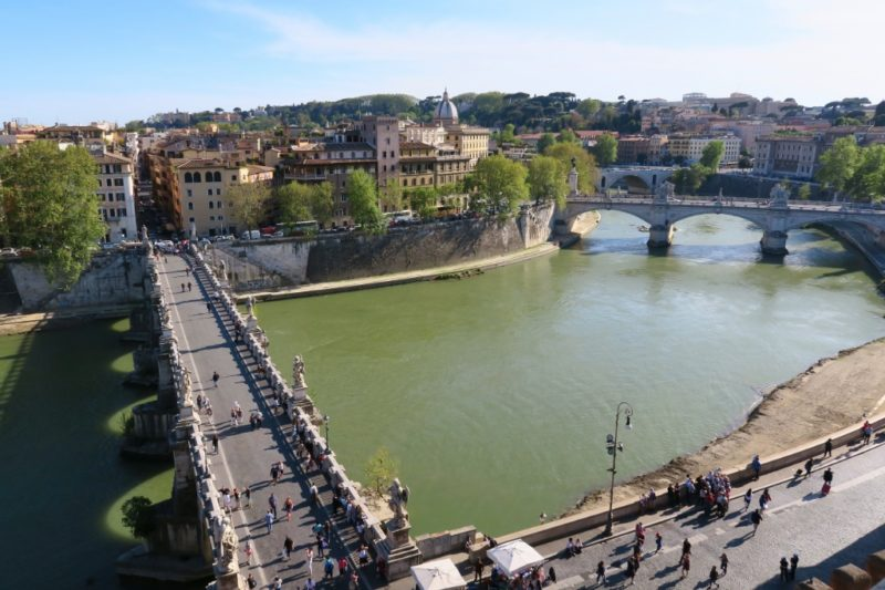 View of Bridge and River Castel Sant Angelo Rome Italy