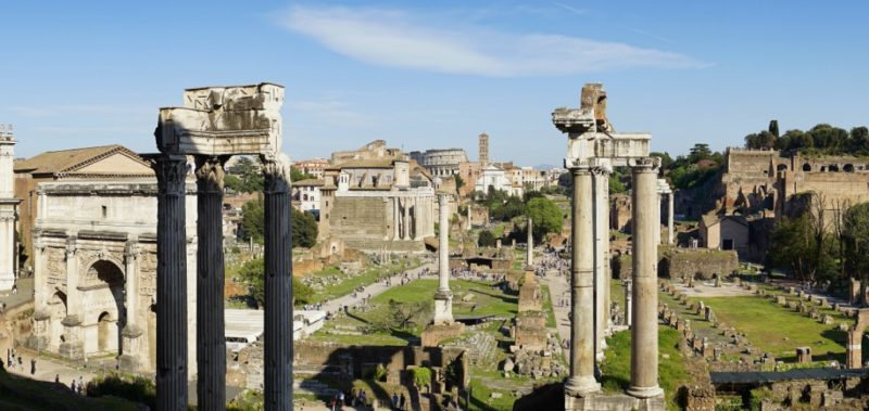 View of Roman Forum from Colosseum Italy