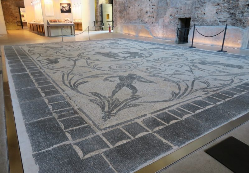 Floor Mosaic Hercules and Echelous Baths of Diocletian Rome Italy