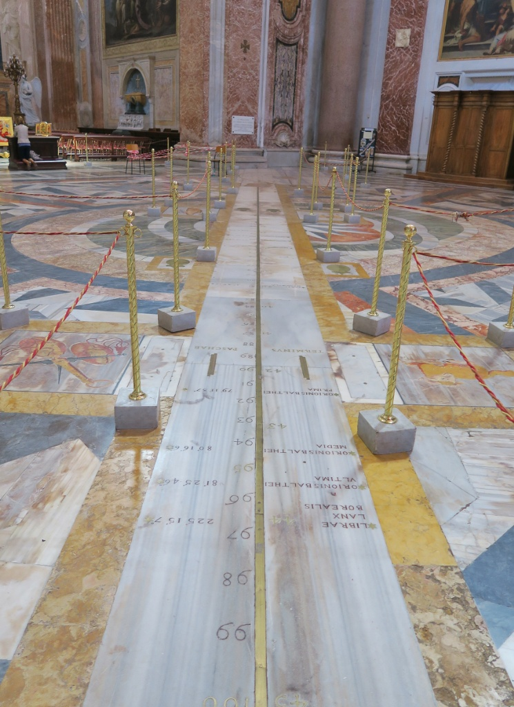 Meridian Line in Basilica Saint Mary of the Angels and Martyrs Rome Italy