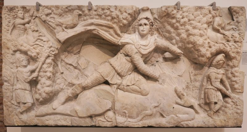 Relief of Mithras Baths of Diocletian Rome Italy
