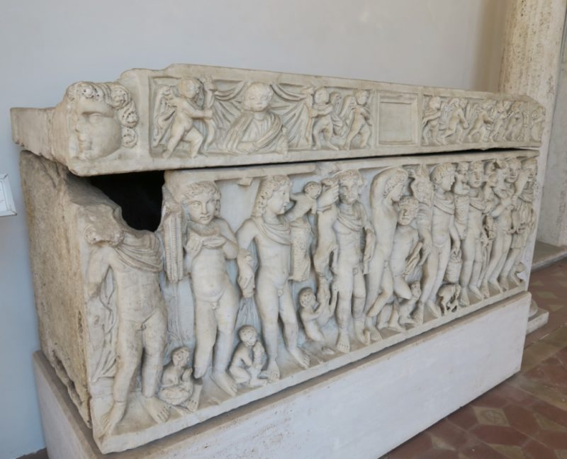 Sarcophagus with Dionysus Relief Baths of Diocletian Rome Italy