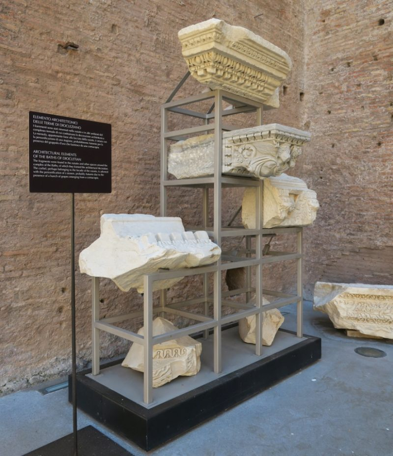 Stone Corbels Baths of Diocletian Rome Italy