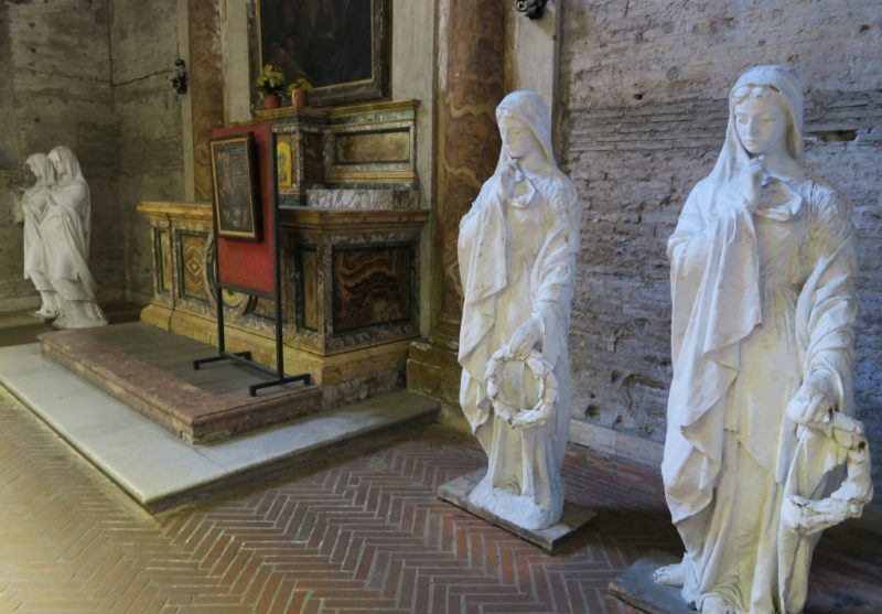 White Statues Basilica Saint Mary of the Angels and Martyrs Rome Italy